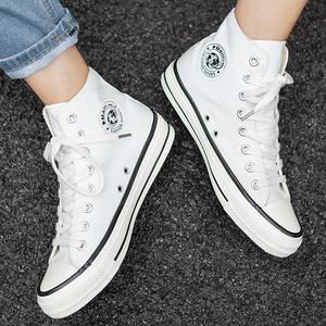 环球高帮帆布鞋男鞋高腰韩版百搭高邦鞋夏季休闲板鞋白色球鞋子