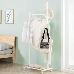 家用架晾衣架卧室挂衣架落地阳台单杆式带轮可移动晒衣架衣帽架