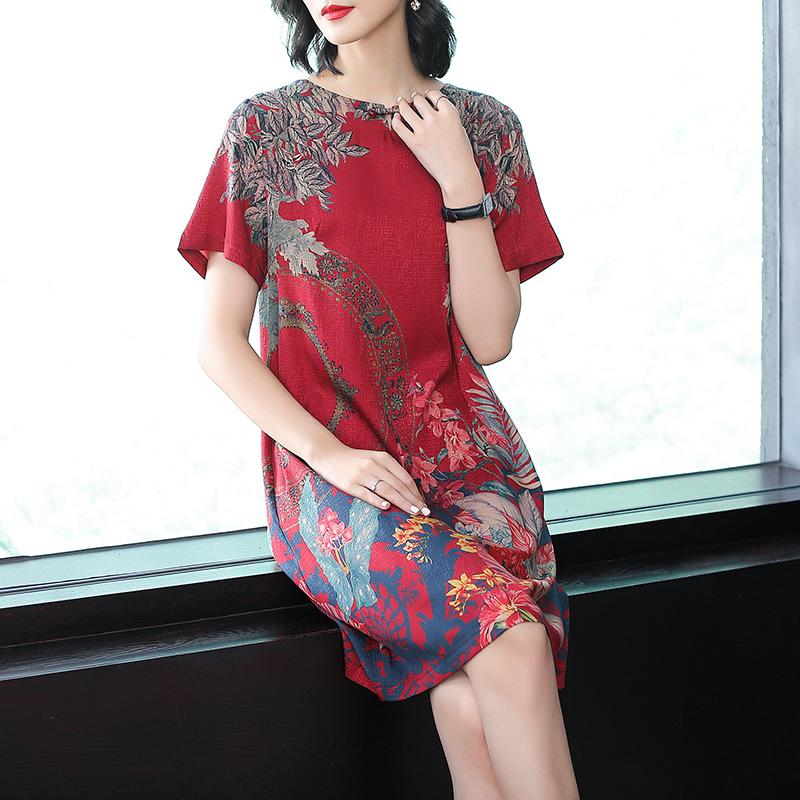 女王2018夏季新款 中国风大码女装 宽松显瘦 短袖印花仿桑蚕丝连