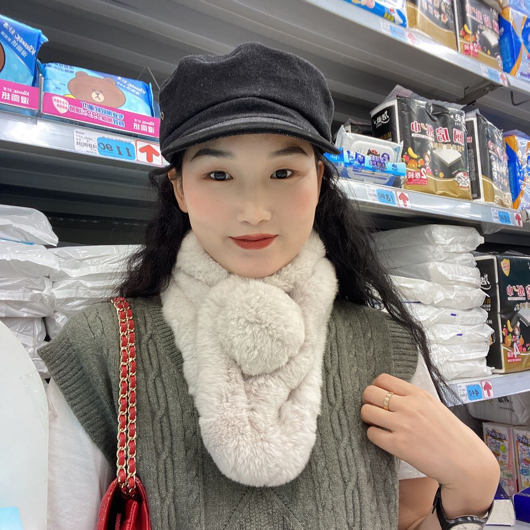 Real otter rabbit hair scarf for women in autumn and winter