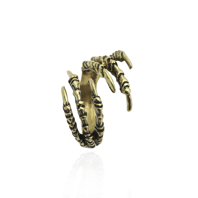 European and American punk style Gothic eagle claw ring exaggerated retro opening trendsetter ring hand jewelry manufacturer direct sales