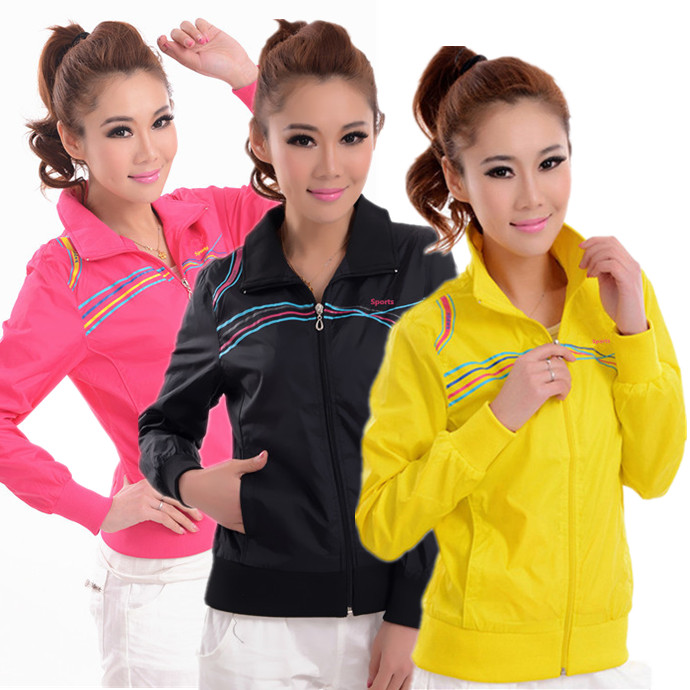 Spring and autumn sports jacket womens thin and slippery material baseball overalls loose and breathable large size windbreaker zipper jacket cardigan