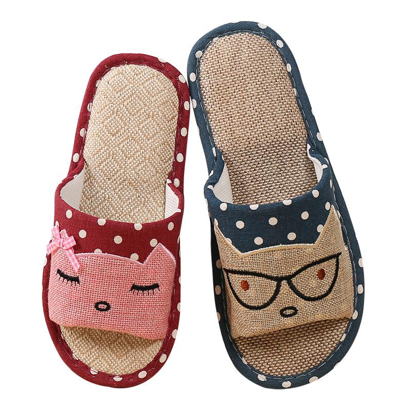 【天天特价】拖鞋女夏情侣居家室内防滑亚麻拖鞋卡通男女夏季凉拖