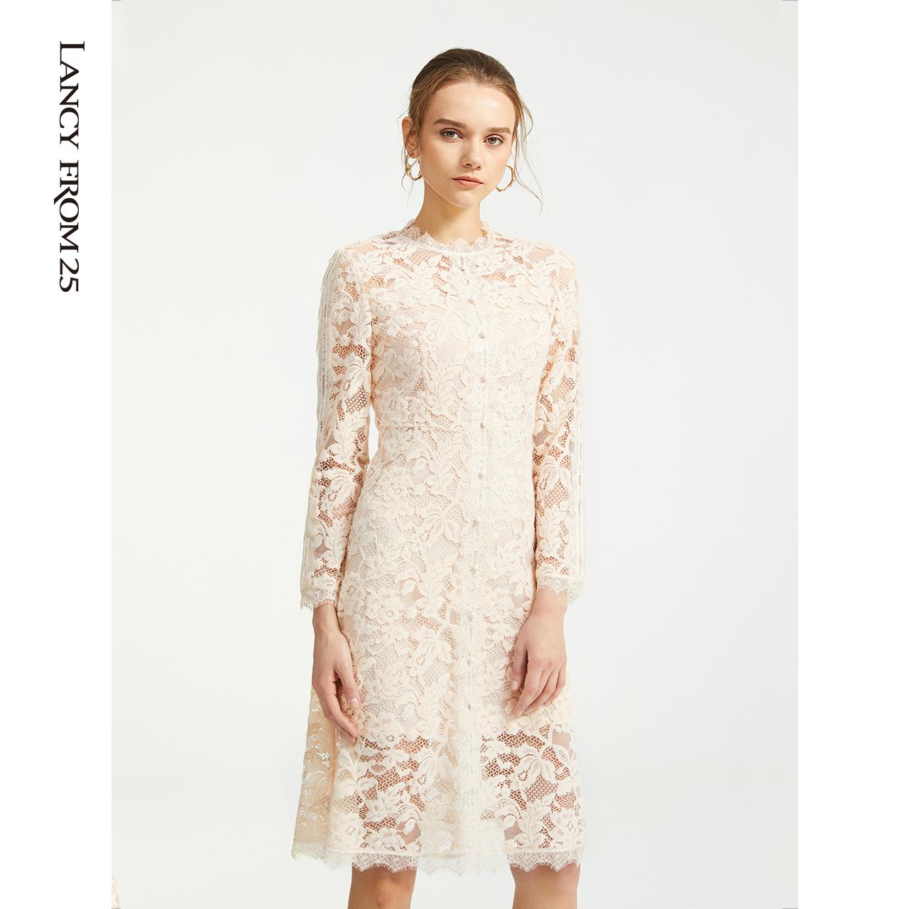 朗姿秋装2019年新款气质大牌贵夫人蕾丝碎花修身高腰连衣裙中长款