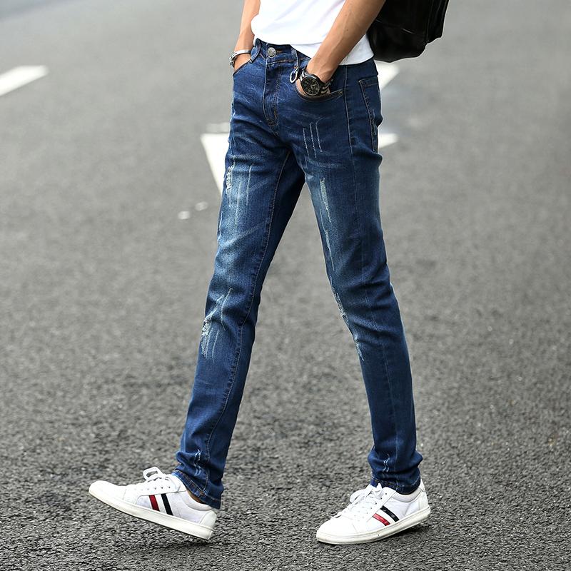 修身直筒男士牛仔裤新款小脚裤子男韩版潮流弹力夏季休闲牛仔裤男
