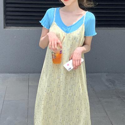小野智恩 短袖薄款针织衫女夏2020新款纯色甜美V领修身短款上衣