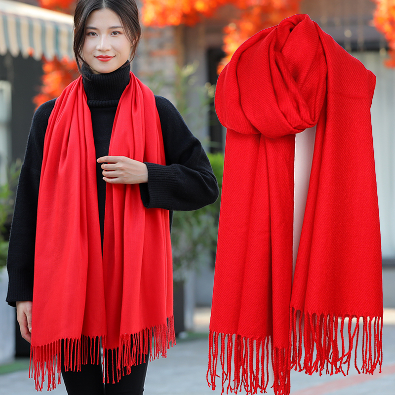 Scarlet scarf for womens winter versatile warm cashmere like spring and autumn shawl widened China Red annual meeting customized logo