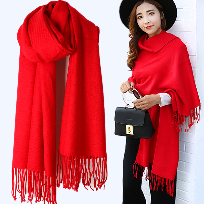Widened scarf womens spring and autumn shawl dual use long winter Korean versatile solid Chinese Red custom logo