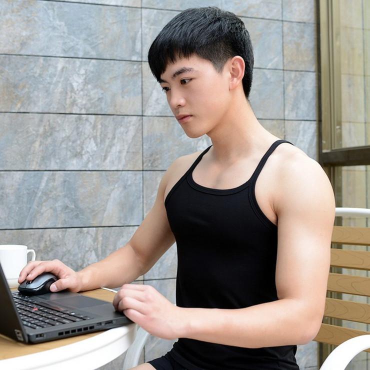 夏季男士纯色运动休闲吊带背心时尚打底紧身细带背心健身莱卡棉