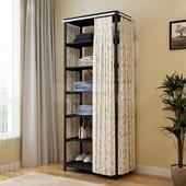 卧室全钢架三面帘子衣柜通用置物架衣帽间挂衣架铁木储物整理衣橱