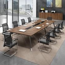 工业风办公桌简约现代长条桌洽谈接待桌椅组合loft北欧实木会议桌