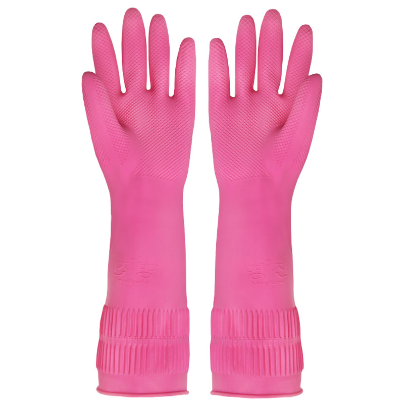 Korea imported rubber household gloves kitchen dishwash clothes waterproof latex gloves thickened 3 pairs