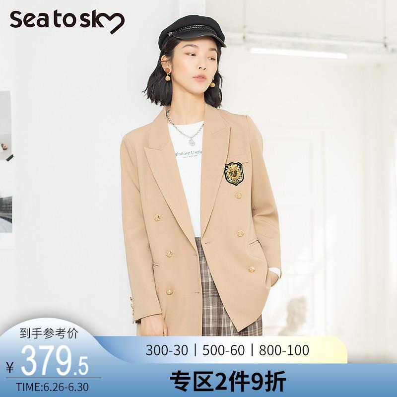 SEATOSKY2021年春季新款西装领双排扣时尚气质英伦学院风短外套女