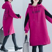 韩版 字母印花加厚卫衣裙 加绒连衣裙撞色长袖 女装 大码 2019秋冬新款