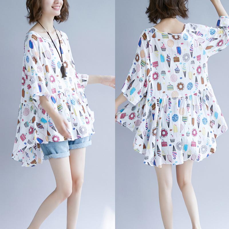胖mm女装夏装新款减龄洋气棉麻加大码藏肉娃娃衫200斤短袖t恤上衣