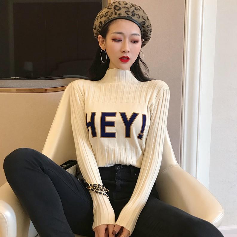 2018秋装新款复古半高领打底毛衣修身字母长袖套头针织衫上衣女装