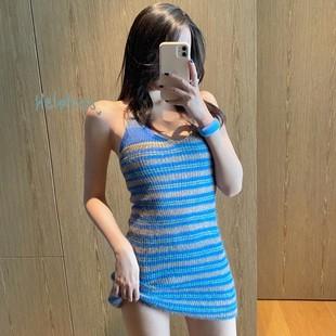2020夏季新款掛脖性感美背吊帶裙子無袖短裙條紋針織連衣裙女裝潮