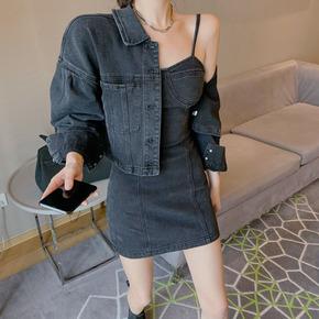 港风套装女装复古chic牛仔吊带连衣裙2021新款外套时尚春装两件套