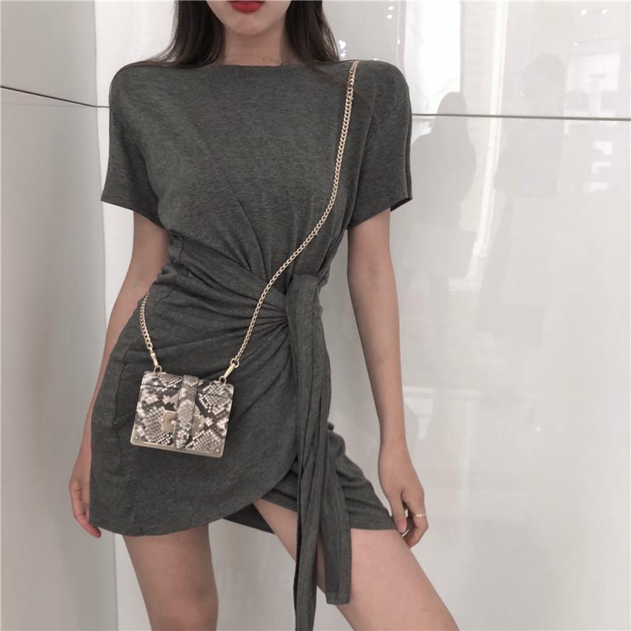 2018夏季新款宽松收腰显瘦裙子气质包臀短裙纯色短袖连衣裙女装