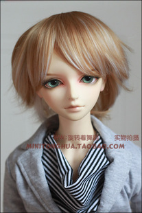 Mini Fairy Tales flax gold color streaked warping high temperature wire 3 points 4 points BJD wig Harajuku