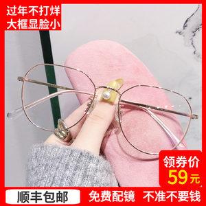 纯钛复古大框近视女韩版眼镜框