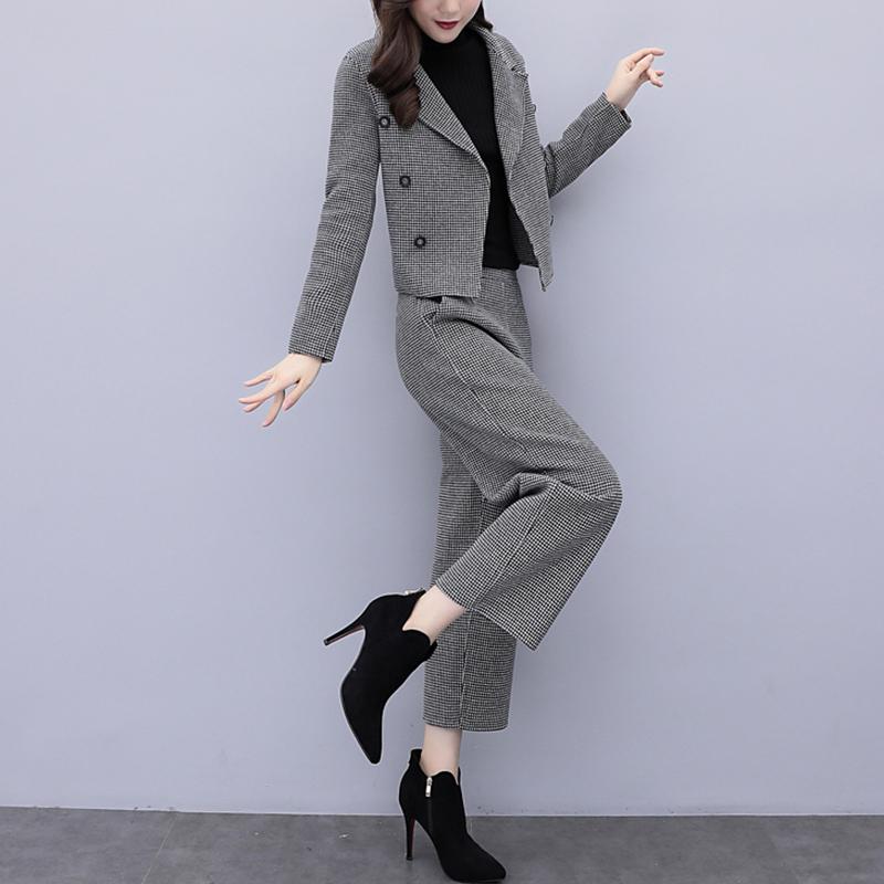 毛呢短外套女阔腿裤休闲时尚套装2019秋冬新款女装两件套裤