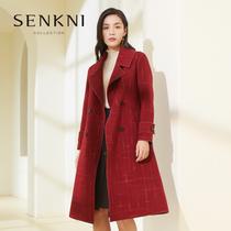 圣可尼商场同款新品里约红格纹 英伦风绵羊毛呢外套女时尚长大衣