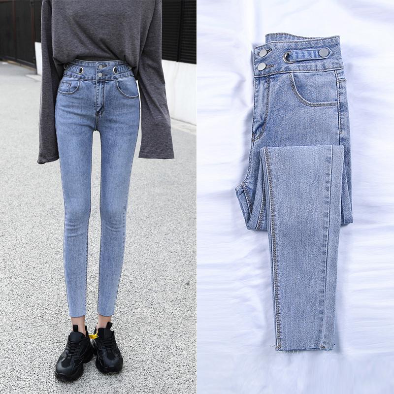 實拍2020新款高腰彈力牛仔褲女薄款緊身春季小腳褲時尚百搭鉛筆褲