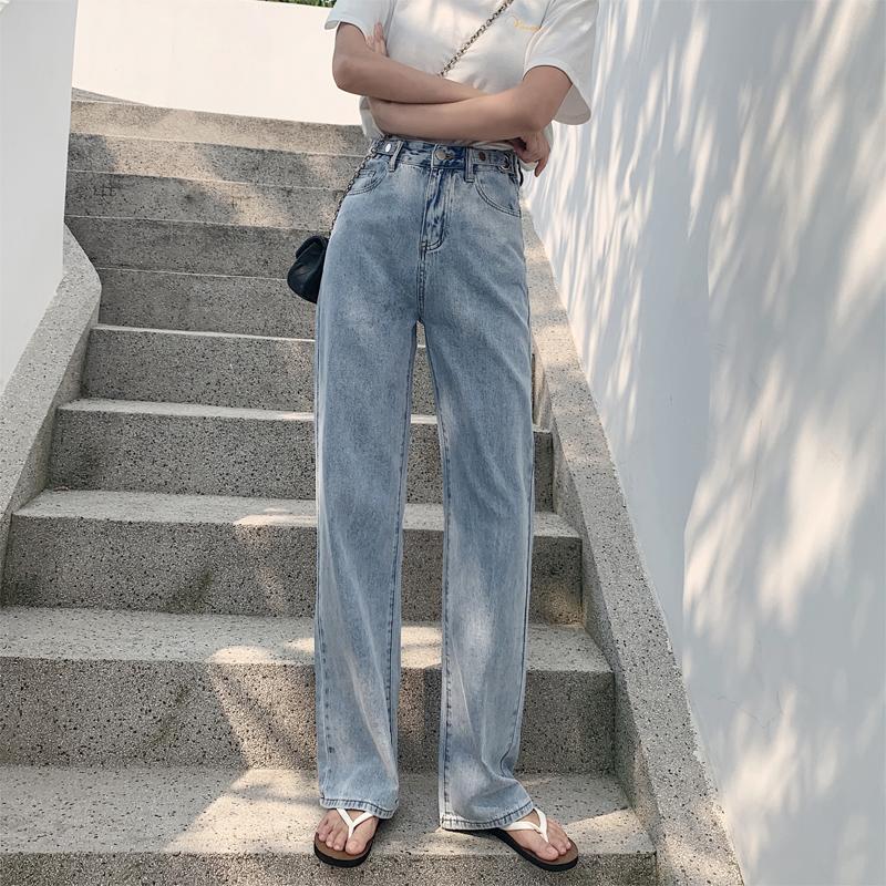 實拍新薄款直筒寬松牛仔褲女拖地寬松高腰闊腿腰部可調節九分褲女
