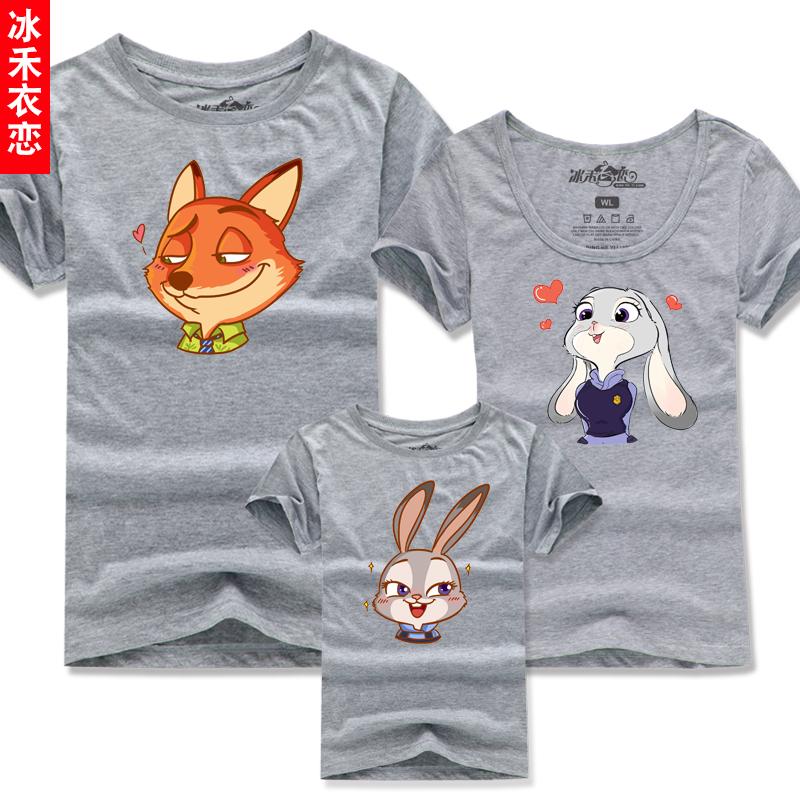 親子裝夏裝一家三口2016 四口全家母女子家庭短袖T恤crazy
