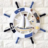 蔓森鑫海洋风舵手壁饰挂件家居室内墙上装饰品领航舵木质船舵背景