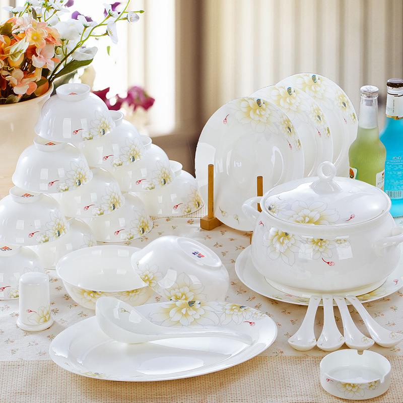高檔家用景德鎮陶瓷器骨瓷餐具套裝碗碟中式碗盤碗筷套碗結婚