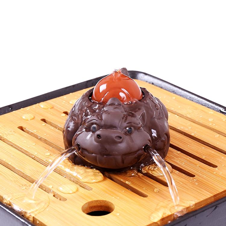 包邮紫砂茶宠貔貅 招财金蟾精品茶具配件创意小摆件喷水手工茶玩