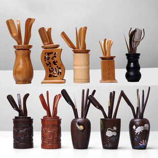 包邮茶道六君子组合整套装功夫茶具零配件竹茶叶茶夹子镊子实木质价格