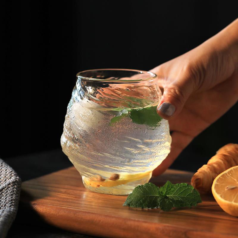 威士忌酒杯锤目纹玻璃杯日式创意文化洋酒杯子茶杯耐热早餐杯一人
