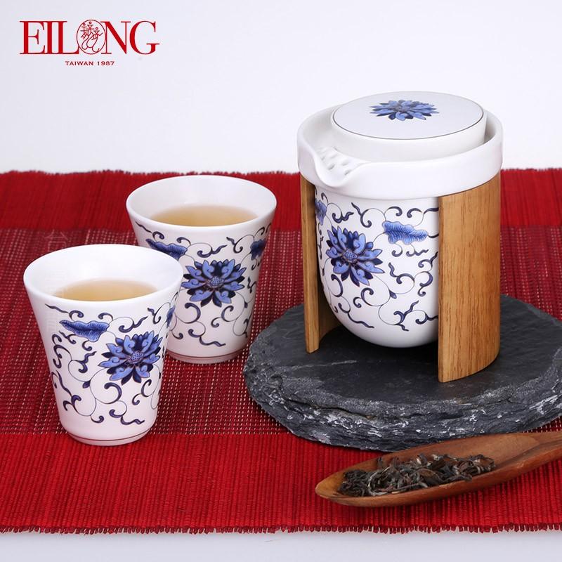 宜龙禅风禅之莲青花瓷陶瓷功夫茶具套装茶壶茶杯一壶两杯3入