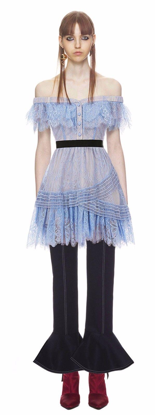 代购 Self-Portrait 一字肩蕾丝淡蓝色短袖连衣裙公主裙 美丽 女