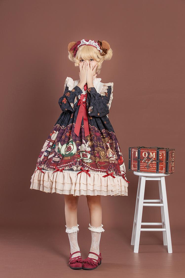 188.00元包邮【现货】豹了个猫原创~ lolita+边夹