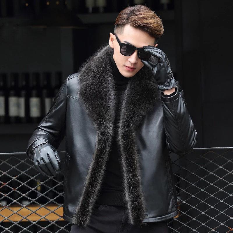 冬季海宁男士真皮皮衣貉子毛领皮毛一体男外套修身羊羔毛皮草大衣