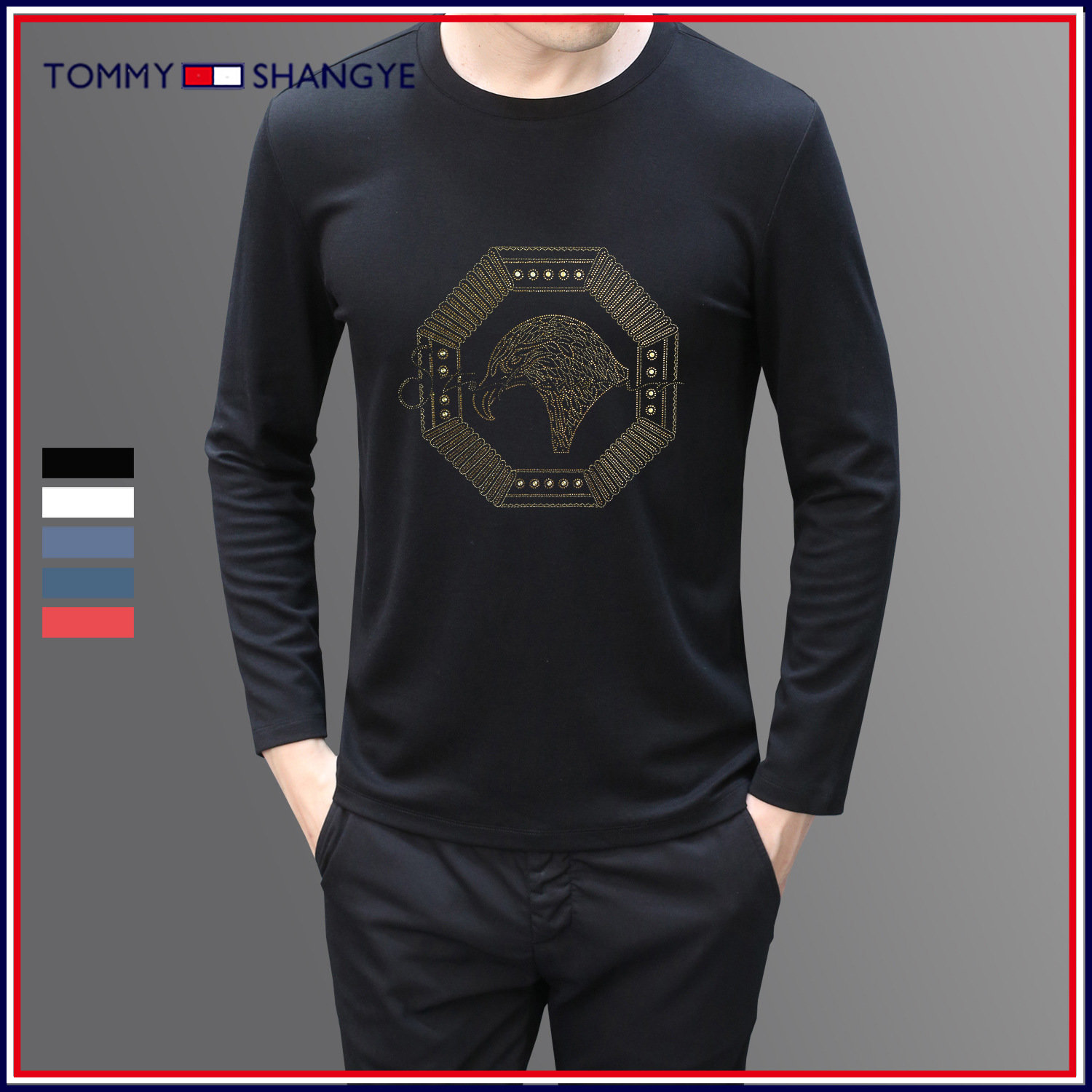 Mens hoodless white Pullover Tommy crew neck solid bottomed shirt autumn casual thickened T-shirt long sleeve men
