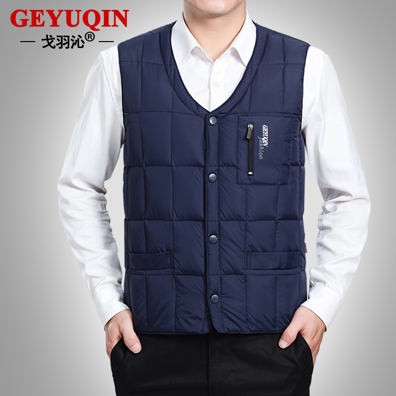 [special price every day] down vest for middle-aged and elderly mens down vest with warm inner liner