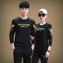 情侣装运动两件套装春秋季20岁25大码40卫衣服35韩版30岁男女服装