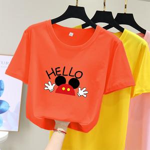 cec超火白色短袖t恤女夏季2020新款学生韩版宽松印花上衣服潮