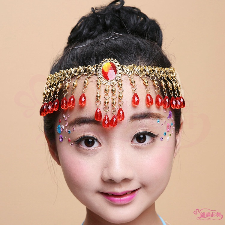 New Indian dance accessories stage performance jewelry childrens single diamond eyebrow pendant dual-purpose Necklace gem head chain
