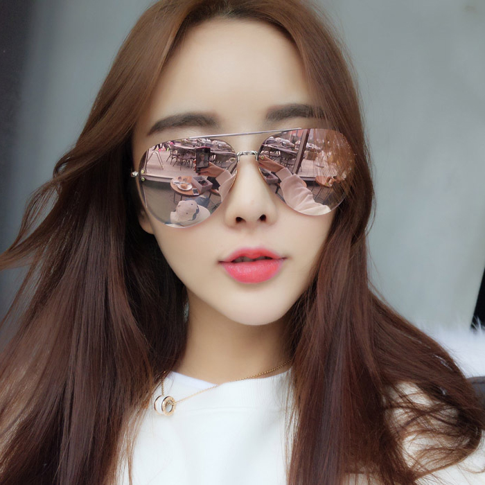 Pink large framed frameless toad glasses round face womens sunglasses Fashion 2020 glasses Song Jia same Sunglasses