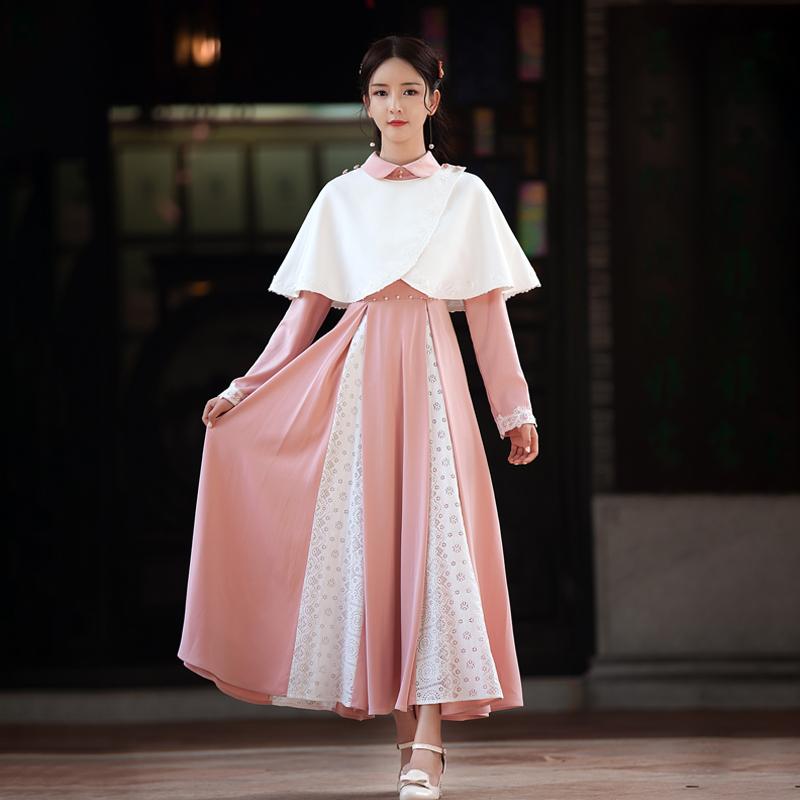 曼轻罗原创玉颜香国风名媛公主风娃娃领小斗篷披风百褶连衣裙套装