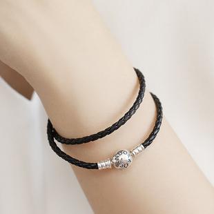 潘多拉官網Pandora專櫃雙圈黑色皮繩情侶925銀手鍊男女590745CBK
