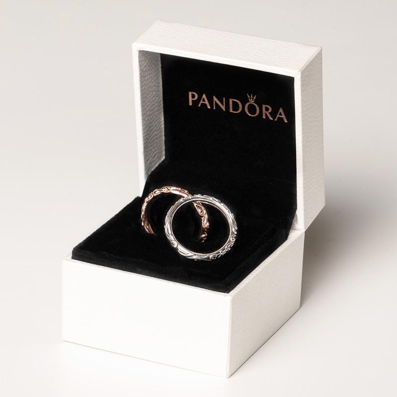 潘多拉官网Pandora正品贵族魅力情侣对戒925银复古戒指女197690