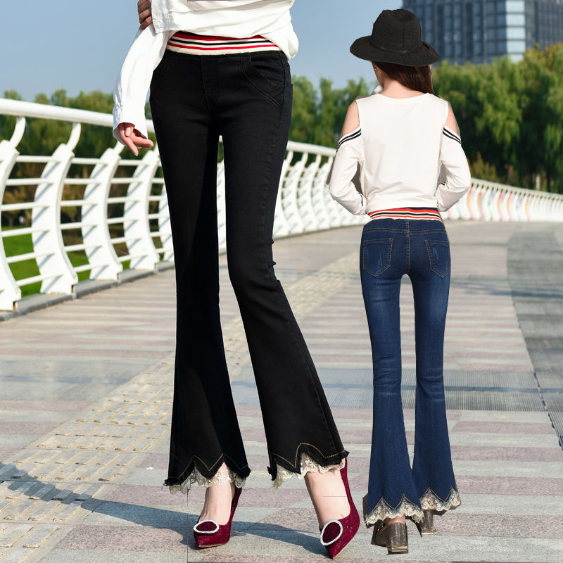 Spring and autumn 2020 new lady style micro horn elastic jeans women Plush elastic waist lace side pants