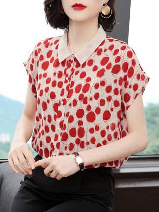 短袖衬衫女2020夏季新款洋气红色波点印花韩版气质宽松雪纺女上衣